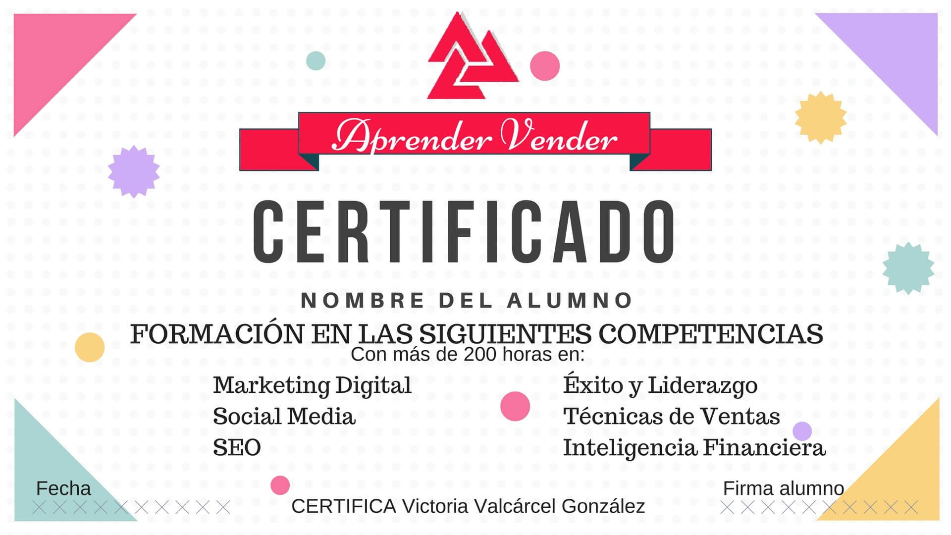 CERTIFICADO formación aprendervender.com.es